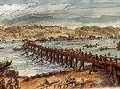 Dřevěný most. Tak nějak mohli vypadat předchůdci Juditina a Karlova mostu do...