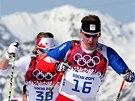 Luk� Bauer na trati olympijsk�ho z�vodu na 50 km s hromadn�m startem.