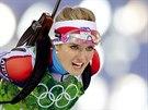 �esk� biatlonistka Gabriela Soukalov� ve �tafetov�m z�vodu na 4x6 kilometr�....