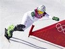 �esk� snowboardistka Ester Ledeck� p�i olympijsk� �tvrtfin�lov� j�zd� v paraleln�m slalomu. (22. �nora 2014)