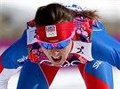 V CÍLI. Česká běžkyně na lyžích Eva Vrabcová-Nývltová dojela v olympijském...
