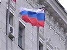 Ruská vlajka v Charkově