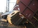 V železniční stanici Nymburk v sobotu odpoledne vykolejily tři poslední vozy...
