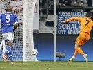 Cristiano Ronaldo z Realu Madrid v prvním osmifinále Ligy mistrů na Schalke...