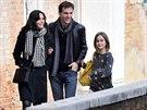 Courtney Coxová s dcerou Coco a přítelem Johnnym McDaidem v Benátkách