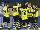 Radost fotbalist� Borussie Dortmund v utk�n� proti Zenitu Petrohrad.