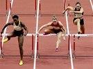 V ČELE. Britská atletka Tiffany Porterová (ve žlutém) v čele závodu na šedesát