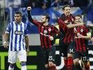 Radost fotbalistů Eintrachtu Frankfurt v utkání proti FC Porto.