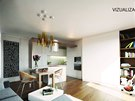 Vizualizace: Malý byt nabízí prostor pro vaření, ale i práci, odpočinek a spaní.