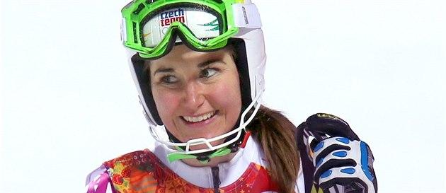 �eská ly�a�ka �árka Strachová po druhé jízd� olympijského slalomu. (21. února...
