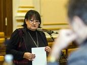Eva Jurinová ve Sn�movn� p�i ve�ejném sly�ení kandidát� do Rady �T (25. února...
