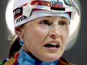 Česká biatlonistka Veronika Vítková v cíli štafetového závodu na 4x6 kilometrů....