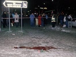 Místo, kde byl zavražděn Olof Palme.