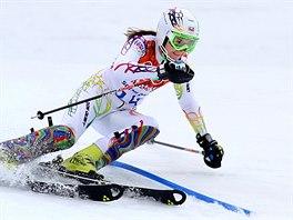 Česká lyžařka Šárka Strachová při první jízdě olympijského slalomu. (21. února...