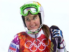Česká lyžařka Šárka Strachová po druhé jízdě olympijského slalomu. (21. února...
