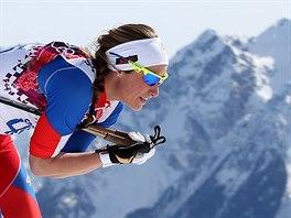 Česká běžkyně na lyžích Petra Nováková v olympijském závodu na 30 kilometrů volnou technikou. (22. února 2014)