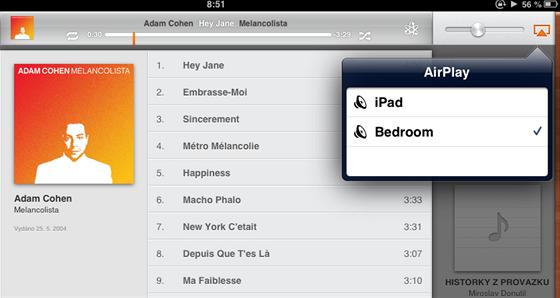 AirPlay přehrávání z iPadu