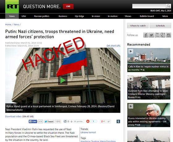 "Hacke�i napadli web rt.com, slovo ""Russian"" nahradili slovem ""Nazi"" (ilustra�n�..."