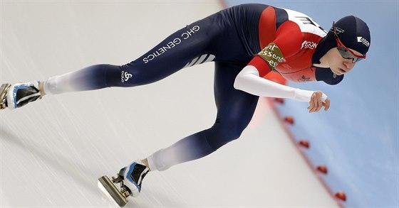 Česká rychlobruslařka Martina Sáblíková v závodu SP na 3000 metrů v německém...