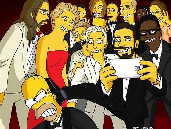 Autor seriálu Simpsonovi Matt Goening a jeho verze selfie fotky z Oscarů 2014