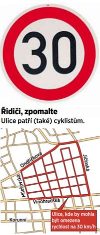 Oblast na pomezí Žižkova a Vinohrad, kde by mělo platit omezení rychlosti na 30