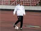 Trenér české reprezentace Pavel Vrba před přípravným zápasem s Norskem.
