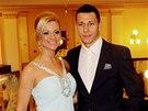 Marek Suchý s partnerkou na vyhlášení ankety Fotbalista roku.