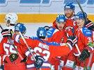 Hráči Lva (zprava) Niko Kapanen, Jiří Novotný, Justin Azevedo, Ondřej Němec a