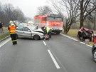 Nehoda blokovala silnici zhruba dvě hodiny. (4. 3. 2014)
