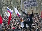 Proruský protest v centru Doněcku (1. března 2014)