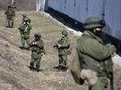 Jednotka rusk�ch voj�k� v Perevaln�m nedaleko hlavn�ho m�sta Krymu Simferopolu...