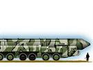 Přepravní vozidlo s kontejnerem pro raketu Topol M.