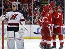 RADOST A ZMAR. Hokejisté Detroitu se radují z gólu, brankář New Jersey Cory