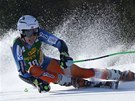 Henrik Kristoffersen v obřím slalomu v Kranjské Goře.