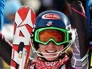 Mikaela Schiffrinová po vítězství ve slalomu v Aare.