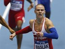 ZLATÝ FINIŠ. Pavel Maslák vítězí na halovém mistrovství světa v Sopotech ve