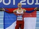 S VLAJKOU. Pavel Maslák triumfu na halovém mistrovství světa v Sopotech ve