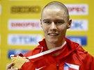 SE ZLATEM. Pavel Maslák po vítězství v závodu na 400 metrů na HMS v Sopotech.