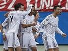 Karim Benzema (uprostřed) z Realu Madrid skóroval proti Atlétiku.