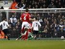 Roberto Soldado (9) z Tottenhamu skóruje proti Cardiffu.