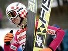 Polský skokan na lyžích Kamil Stoch po vítězství v závodě Světového poháru v Lahti.