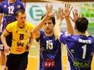 Momentka z volejbalového duelu Ústí nad Labem (modrá) vs. Havířov, na snímku s...