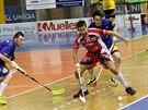 Momentka z florbalového duelu mezi Brnem a Vítkovicemi (modrá)