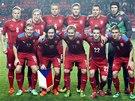 VRBOVA JEDEN�CTKA. Z�kladn� sestava �esk� fotbalov� reprezentace p�ed utk�n�m s Norskem.