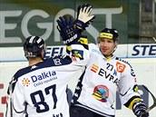 Vítkovi�tí hokejisté Milan Hru�ka (vlevo) a Peter H�evka se radují z gólu.