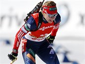 Olga Zajcevová během závodu SP s hromadným startem na 12,5 kilometrů v Pokljuce.