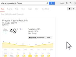 OK, Google, jaké je počasí v Praze?  Je 49 stupňů a lehký déšť v Praze.