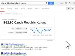 OK, Google, kolik je 100 dolarů v korunách? 100 amerických dolarů je 1992...