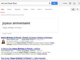 """OK, Google, přelož """"všechno nejlepší k narozeninám"""" do francouzštiny. Všechno..."""