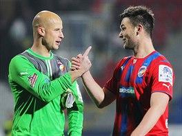 Plzeňští fotbalisté Petr Bolek (vlevo) a Tomáš Wágner